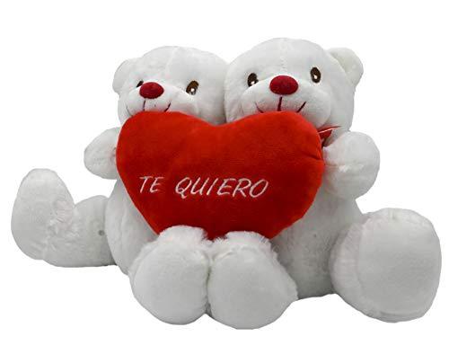 ARTESANIA BEATRIZ Pareja de Osos Enamorados con un Corazon con Frase TE Quiero 35x25 (Blanco-Med)