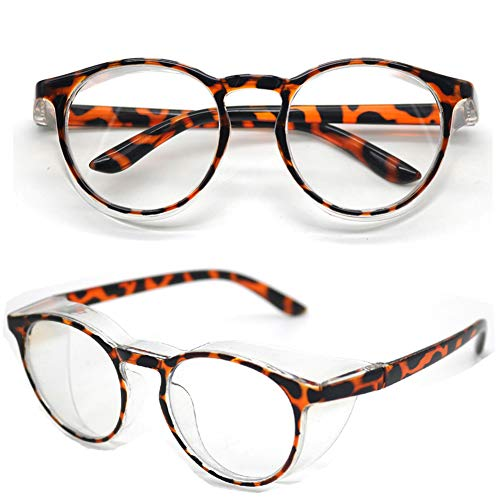 Schutzbrille, Kratzfest & Beschlagfrei Über Gläser, blaulichtfilter Brille, mit klaren Rundum Gläsern, Seitenschutz Arbeitsbrille (Leopard)