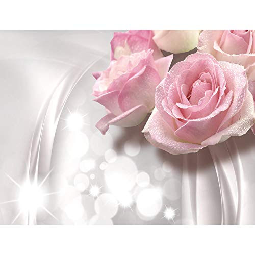 Fototapete Blumen 3D Rose Grau Vlies Wand Tapete Wohnzimmer Schlafzimmer Büro Flur Dekoration Wandbilder XXL Moderne Wanddeko Flower 100% MADE IN GERMANY - Runa Tapeten 9129010a