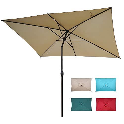 Abba Patio 6.5 x 10ft Rectangular Patio Umbrella Outdoor Market Table Umbrella with Push Button Tilt and Crank for Garden, Lawn, Deck, Backyard & Pool, Beige