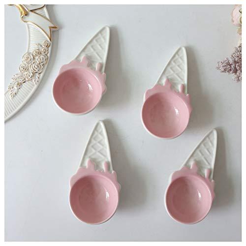Cuchara de cena Cuchara de cerámica de helado rosado de cuatro piezas Postre de los niños Cuchara de la cuchara de la sandía de la cucharada de la cucharada de granos de gran capacidad Cuchara de sopa