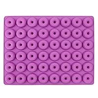 48キャビティミニドーナツシリコーン型ドーナツ耐熱皿デザートシリコーン型チョコレートビスケットケーキ型回転(色:紫)
