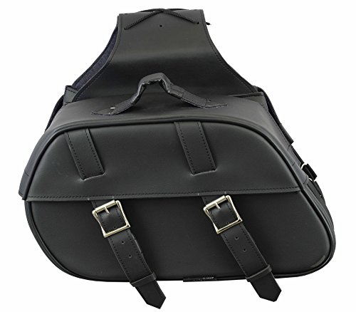 577 Genuine Leather Series - Profirst Waterproof Motorbike Saddle Bag Panniers Luggage Box Heavy Duty Sissy Bar Frilled Panniers Product Touring Cruisers Motorcycles - Full Black
