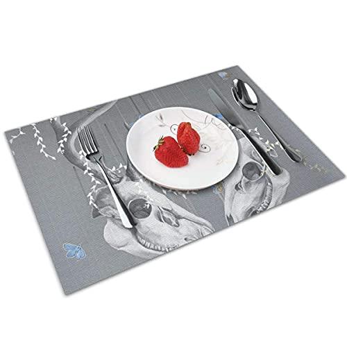 N\A Antilopenschädel Hitzebeständige Küchentabletten, waschbare Tischsets Tischdekoration