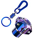 FAVOMOTO Motorcycle Key Cover Case Shell with Keychain CNC Burn Blue Key Ring Key Head Tip Cover Protector for Motorbikes Scooters Accessories