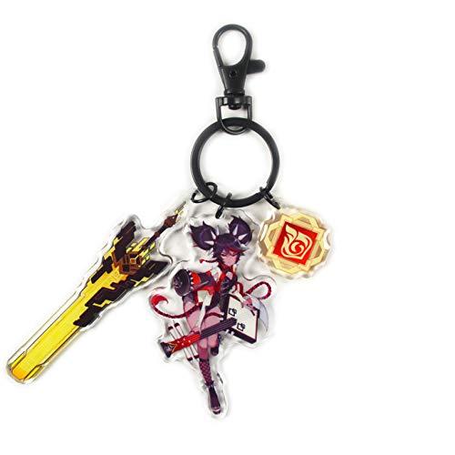 DFGER Anime Juego Llavero Dibujos Animados,Genshin Impact Metal Llave Conjunto Cadena Espada Armas DecoracióN ColeccióN Regalo Accesorios Personajes Colgante