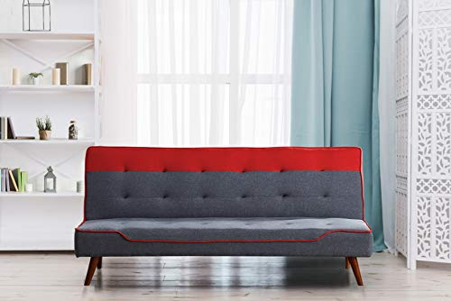 Comfy Living Fabric Sofa Bed 3 Seater Recliner With Wooden Legs - Grey Red Blue Yellow Cream (Red)