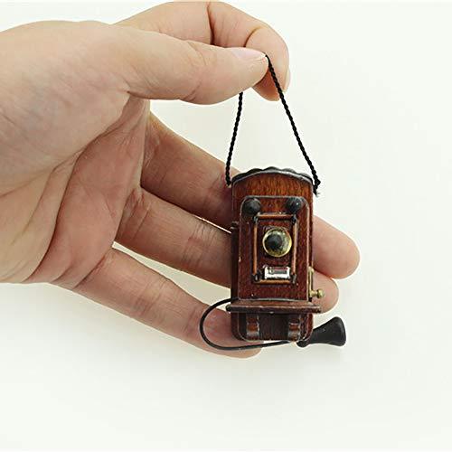 GRASARY Mini Teléfono De Madera Vintage para Colgar En La Pared, Accesorios De Casa De Muñecas En Miniatura, Juego De Regalo De Juguete Casa De Muñecas Ébano