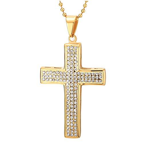 COOLSTEELANDBEYOND Goldfarben Kreuz Anhänger mit Zirkonia, Herren Damen Edelstahl Halskette, Luxus, 75cm Stahl Kugelkette