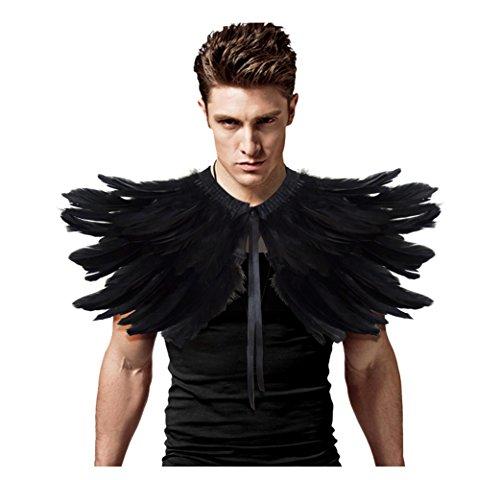 keland Gothic Punk Feather Shrug Cape Shawl Collar Halloween Costume (Black)(Size: One Size)