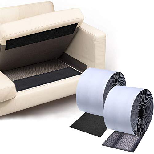 TEUVO Couchkissen Anti-Rutsch-Pads, um Couch-Kissen vor dem Verrutschen zu schützen, Klettband mit Kleber für glatte Oberflächen, 2 m lang und 11 cm breit