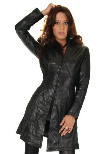 Erogance Damen Lederjacke in schwarz, Figurbetonter Schnitt mit Zipper Gr. S/8 Modell S90