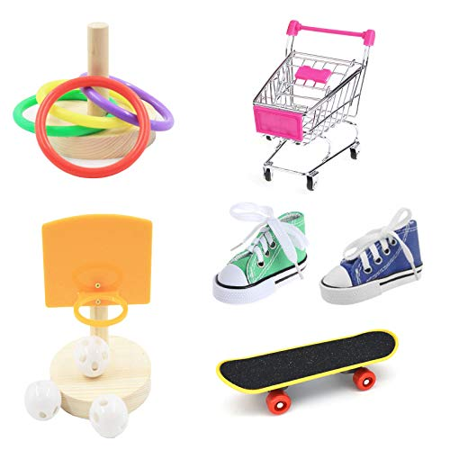 Zmk Juguetes de entrenamiento para pájaros, carrito de la compra de baloncesto aro apilable anillo Skatebord zapatilla de deporte
