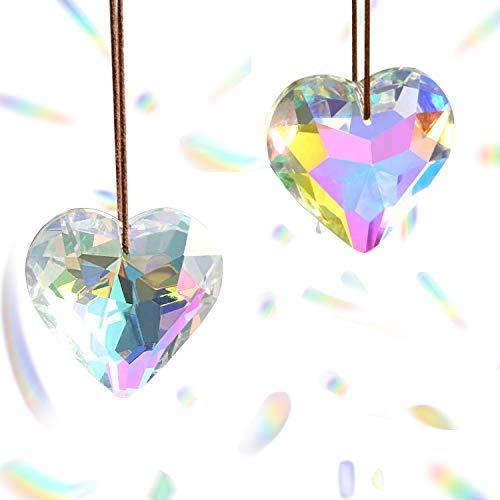 Hey_you 2er Pack Crystal Suncatcher Ball Herz Prismen Anhänger Kronleuchter Fenster hängen Ornament Regenbogen Kristall