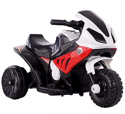 ZHBD Motocicleta De Pedal Eléctrico para Niños, Juguete De Paseo 6V Batería con Música/Bocina/Faros/Neumáticos De Amortiguación, Moto para Niñas Boy 3-6 Años,Rojo