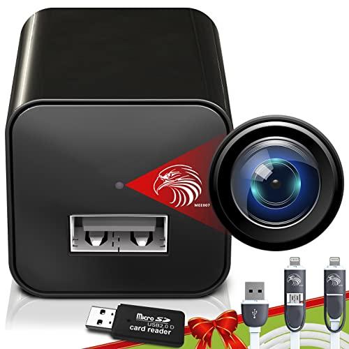 Carregador de câmera espiã | Câmera escondida | Pacote premium | Mini câmera espiã 1080p | Câmera carregador USB | Câmera espiã oculta | Câmera escondida de babá | Câmera espiã oculta | Câmera de vigilância Full HD