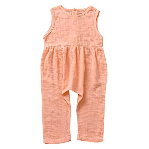 LEXUPE Kleinkind Baby Kinder Mädchen Mädchen Solid Jumpsuit Sommerkleidung(A-Rosa,110)