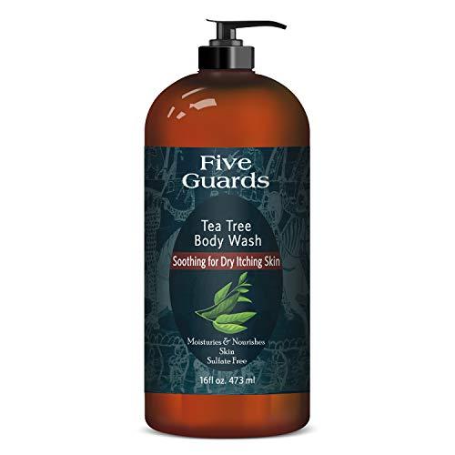 FIVE GUARDS Tea Tree Oil Body Wash W/Mint Removes Body Odor, AthleteÕs Foot, Jock Itch, Skin Irritations Botanical Shower Gel Soap Women & Men W/Oregano, Rosemary, Cinnamon Oil - 16 Fl Oz
