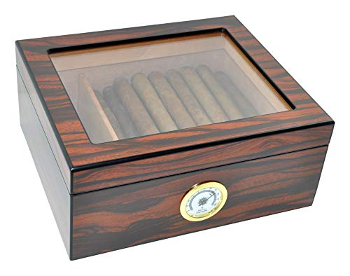 DUCIHBA Desktop Humidor Case Holds 25-50 Cigar, Tempered Glass Top Display, Handcraft Spanish Cedar Wood Storage Box with Divider, Humidifier and Hygrometer, Macassar Brown