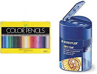 トンボ鉛筆 色鉛筆 NQ 36色 CB-NQ36C & ステッドラー 鉛筆削り ノリスクラブ 512 128 三角筒型