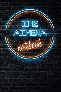 The ATHENA Notebook: Vintage Blank Ruled Personalized & Custom Neon Sign Name Dotted Notebook Journal for Girls & Women. Wall Background. Funny Desk Accessories. Retro Back To School & Office Supplies, Birthday, Christmas Gift for Women.