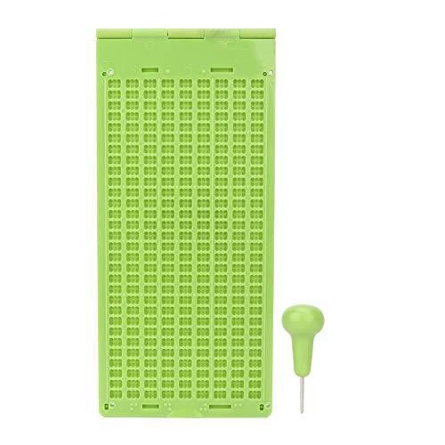 JULYKAI Tarjeta de Negocios de la Tienda Braille Pizarra, plástico portátil 9 líneas 30 Celdas Pizarra de Escritura Braille y lápiz óptico Herramienta de Aprendizaje Braille Accesorio Surtido
