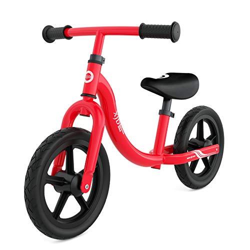 XJD Laufrad Lauflernrad ab 18 Monate Höhenverstellbare Sattel und Lenker Erste Fahrrad Max.30 KG Spielzeug für Kinder 18 Monate -5 Jahre (Rot)