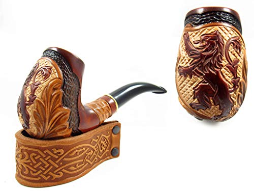 Tobacco pipe Carved'Lion' Smoking Tobacco Pipe 5.5 in. Exclusive Designed for Pipe Smokers and Pouch