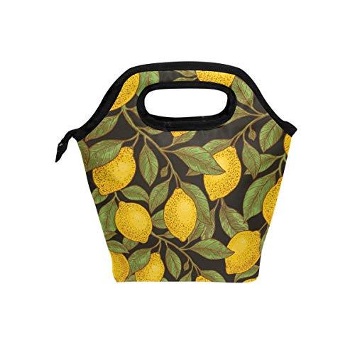 Ahomy Lunchtasche für Schule, Arbeit, für Damen, Mädchen, Retro-Litronenblatt-Design, isoliert, tragbare Kühltasche