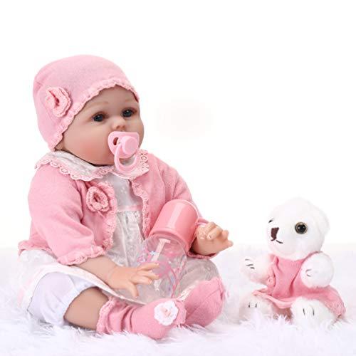 HONGRO DOLL Muñecas Reborn,55 cm Realista Reborn niña y Oso Bebé,11-Piezas-Set, muñecas de Silicona Suave Hechas a Mano,para niños Edad 3+, certificación EN71