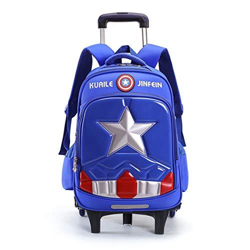 WEIR Kinderwagen Rucksack Captain America Sechsrad-Klettertreppe Hartschalen-Büchertasche Wasserdichter Abnehmbarer Kinderrucksack,A