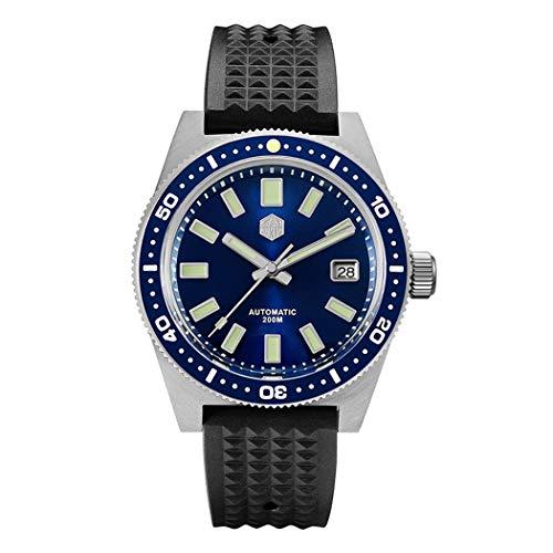 San Martin Reloj de pulsera mecánico para hombre de buceo, 200 m, resistente al agua, C3, bisel de cerámica luminoso, NH35, espejo de...