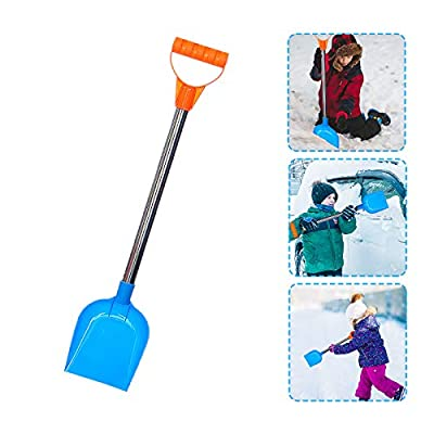 Kids Snow Shovel, 18 Inch Perfect Sized Snow Shovel for Children Age 3 to 12, Heavy Duty Beach Diggers Sand Scoop, Plastic Spade and Stainless Steel Handle, Safer Than Metal Snow Shovels (Blue)