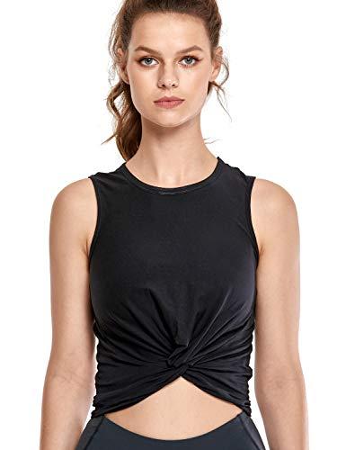 CRZ YOGA Mujer Camiseta Sin Manga T-Shirt Escote en U Casual Tops Algodón Tees Negro 36