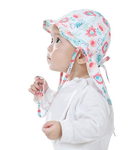 Lachi Baby Sonnenhut Mädchen Kleinkind Sommerhut UV-Schutz Sommermütze mit Nackenschutz Jungen (51cm :24-36 Monate, Blumenweiß)