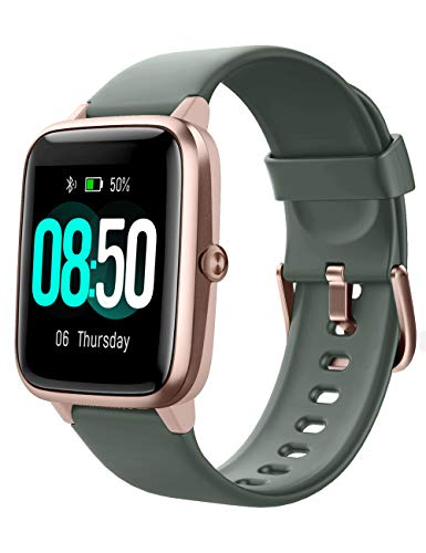 YAMAY Smart Watch Fitness Tracker Watches for Men Women, Fitness Watch Heart Rate Monitor IP68 Waterproof Digital Watch with Step Calories Sleep Tracker, Smartwatch Compatible iPhone (Green-Gold)