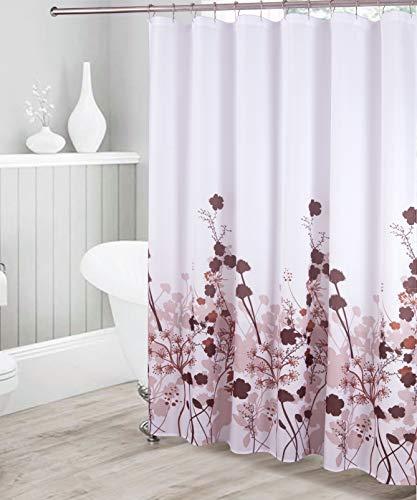 Dekorativer Duschvorhang mit Blumenmuster, wasserdicht, Schokoladenbraun / Braun / Beige / Weiß mit 12 Edelstahl-Rollhaken für modernes Badezimmer