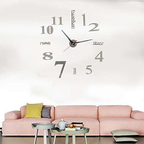 01 Reloj de Bricolaje, PVC, Pegatina de Reloj de Pared fácil de Pegar, Reloj de Pared Simple y Conveniente, Reloj sin Marco para decoración del hogar