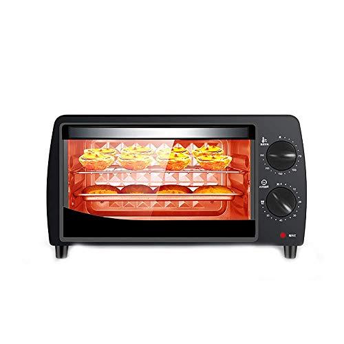 LZMXMYS Horno tostador, 10L 800W pequeño horno hogar, multi-función de la torta y pan Mini Horno eléctrico, resistente a altas temperaturas vidrio templado, 60 Minutos Temporizador, 70-250  Control d
