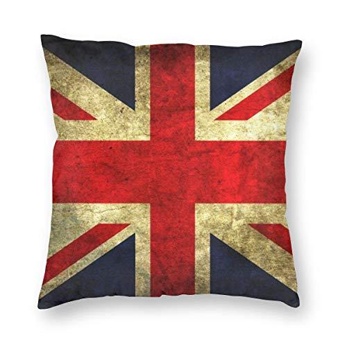 Throwpillow Funda de cojín Bandera Inglesa Vintage Funda de Almohada Decorativa para el hogar Sala de sofá-45x45cm