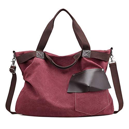 Bolsos De Mujer Hobo La bolsa de asas grande de la lona Las señoras superiores manejan el bolso de la playa Bolsos de hombro para el trabajo de la escuela Viajes y compras ( Color : Purple color )