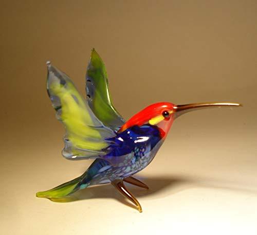 Glass Hummingbird Bird Figurine Blue with Red Head
