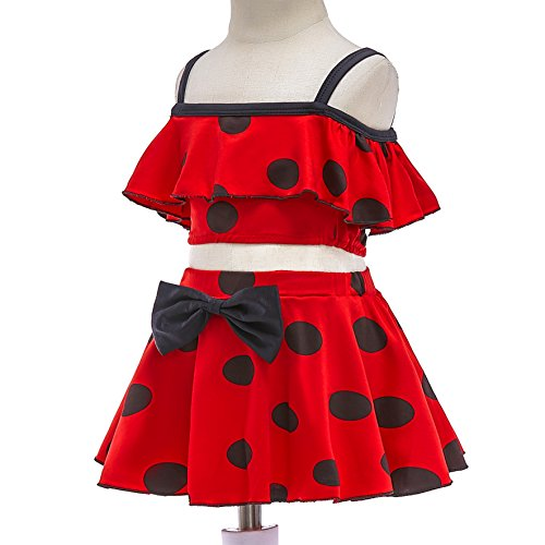 Lito Angels Girls Ladybug Swimming Costume Swimsuit Swimwear Two Pieces Tankini Set Summer Dress Up Red Black Polka Dot Bathing Suit 10-11 Years 056