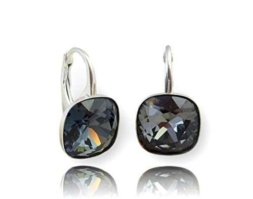 Crystals & Stones, orecchini con cristalli Swarovski, in argento 925 placcato oro 24 carati, per donna, con scatola e Argento, colore: Silver Nigh, cod. 7