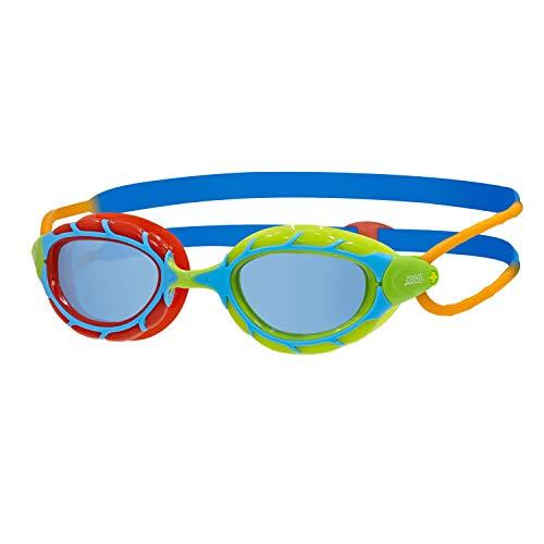 Zoggs Predator Junior, Occhialini da Nuoto Unisex-Youth, Rosso/Verde/Blu/Arancione/Tinta, 6-14 Anni