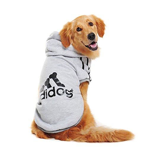 Rdc Pet Large Dog Hoodies, Apparel, Fleece Adidog Hoodie Sweater, Cotton Jacket Sweat Shirt Coat from 3XL to 9XL for Large Dog Medium Dog (Grey, 7XL)