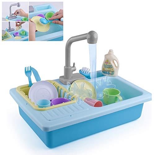 13 Sets Van Kinderen Educatief Speelgoed Vroege Onderwijs Simulatie Vaatwasser Elektrische Waterkringloop Simulatie Keuken Speelgoed Jongens En Meisjes Verjaardagscadeau,Blue
