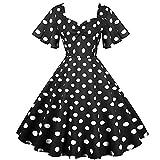 Womens Polka Dot Dresses,50s Style Short Sleeves Rockabilly Vintage Swing Flared Dress 1950s Cocktail Dress Black