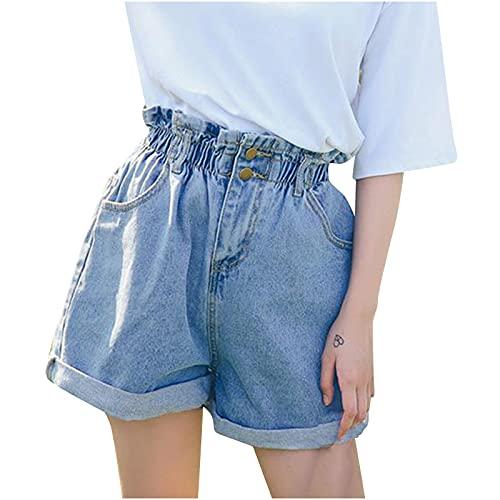 FRAUIT Pantaloni Donna Jeans Larghi Strappati Pantaloncini Vita Alta Denim Shorts Ragazza Push Up Bermuda Mare Pantalone Cerimonia Ragazze Pantaloncino con Elastico in Vita con Tasche