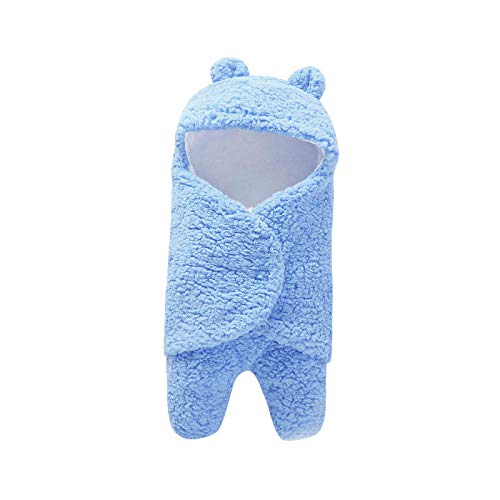 Neutral Swaddle Blanket Baby Sleeping Bag 0-6 Months Baby Products, Bubble Velvet, Autumn And Winter Out, Baby Blanket@Light Blue Child Comfort Quilt
